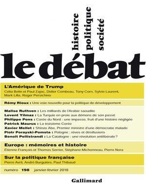 cover image of Le Débat N° 198 (janvier--février 2018)