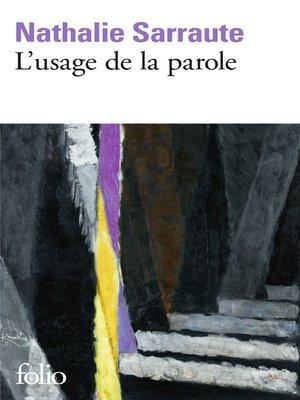 cover image of L'usage de la parole