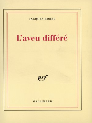 cover image of L'Aveu différé