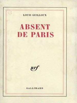 cover image of Absent de Paris