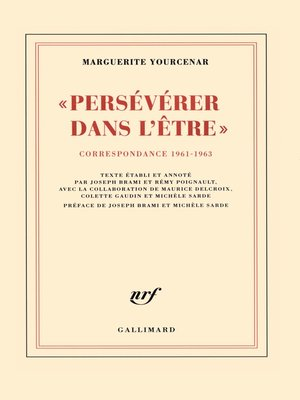 """cover image of """"Persévérer dans l'être"""". Correspondance 1961-1963"""