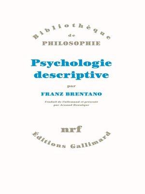 cover image of Psychologie descriptive