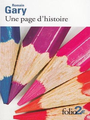 cover image of Une page d'histoire et autres nouvelles
