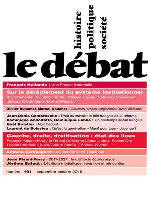 cover image of Le Débat N° 191 (Septembre--octobre 2016)
