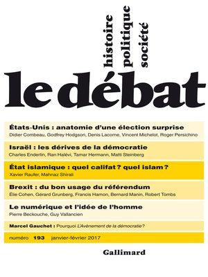 cover image of Le Débat N° 193 (Janvier--février 2017)