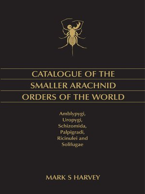 cover image of Catalogue of the Smaller Arachnid Orders of the World