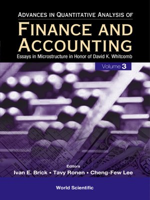 cover image of Advances In Quantitative Analysis of Finance and Accounting (Volume 3)