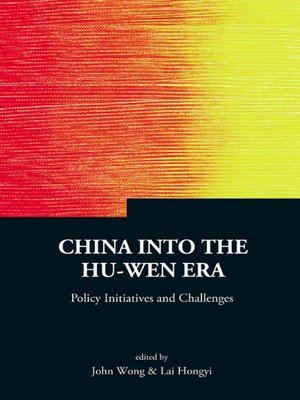 cover image of China Into the Hu-wen Era