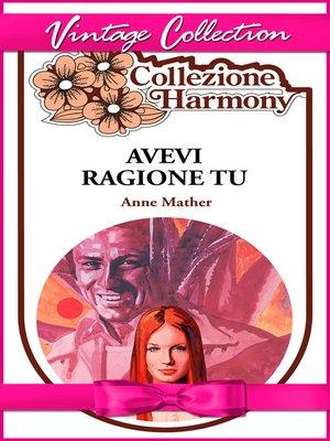 cover image of Avevi ragione tu
