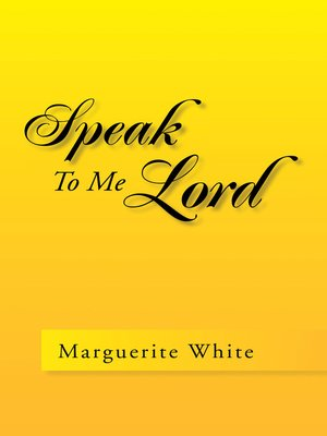 cover image of Speak to Me Lord