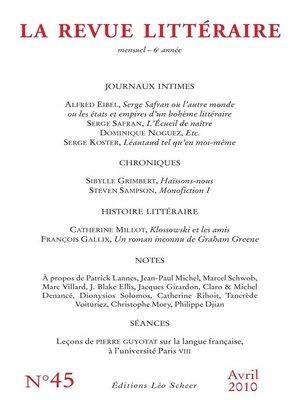 cover image of La Revue Littéraire N°45