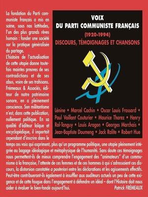 cover image of Voix du Parti communiste français (1920-1994)