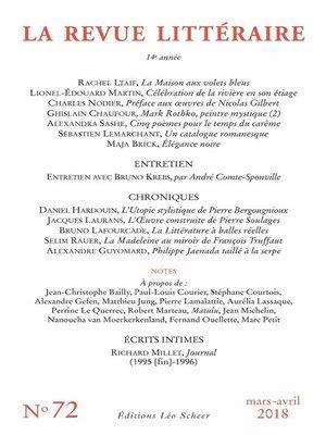 cover image of La Revue Littéraire N°72