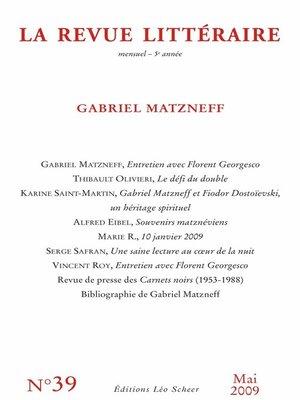 cover image of La Revue Littéraire N°39