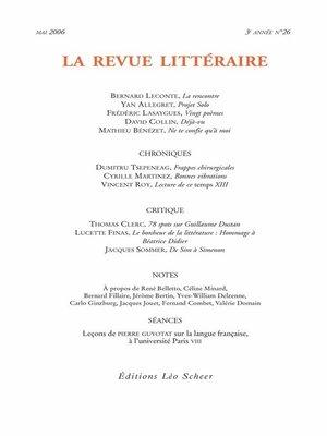 cover image of La Revue Littéraire N°26