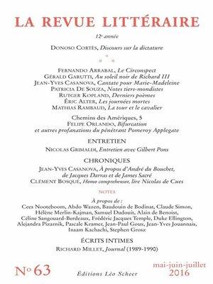 cover image of La Revue Littéraire N°63