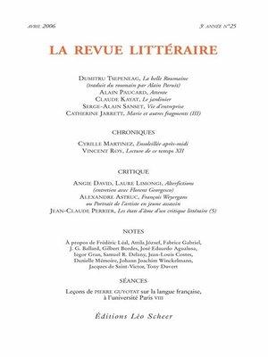 cover image of La Revue Littéraire N°25