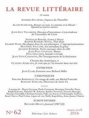 cover image of La Revue Littéraire N°62
