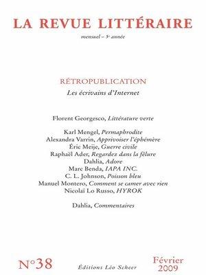 cover image of La Revue Littéraire N°38