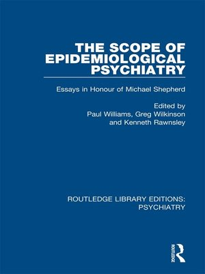 cover image of The Scope of Epidemiological Psychiatry
