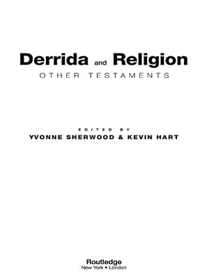 cover image of Derrida and Religion