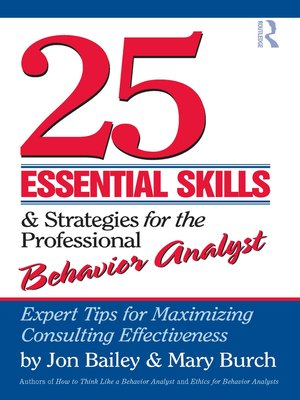 cover image of 25 Essential Skills and Strategies for the Professional Behavior Analyst