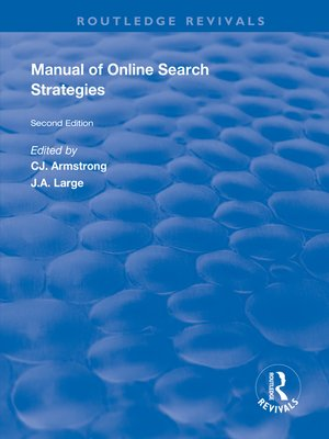 cover image of Manual of Online Search Strategies