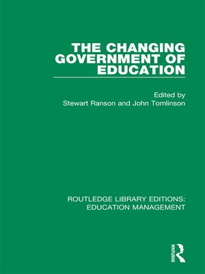 cover image of The Changing Government of Education