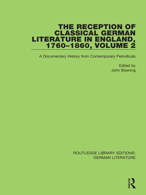 cover image of The Reception of Classical German Literature in England, 1760-1860, Vol 2