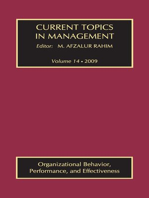 cover image of Current Topics in Management