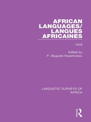 cover image of African Languages/Langues Africaines