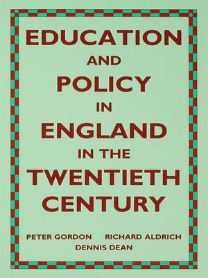 cover image of Education and Policy in England in the Twentieth Century