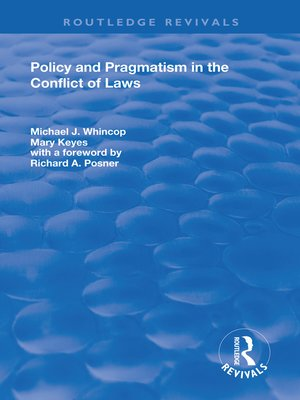 cover image of Policy and Pragmatism in the Conflict of Laws