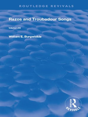 cover image of Razos and Troubadour Songs