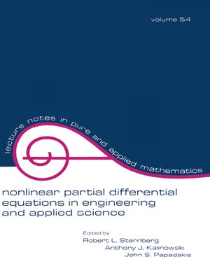 cover image of Nonlinear Partial Differential Equations in Engineering and Applied Science