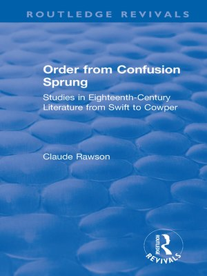 cover image of Order from Confusion Sprung