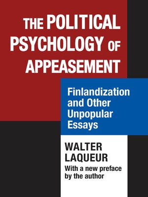 cover image of The Political Psychology of Appeasement
