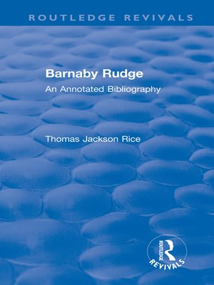 cover image of Barnaby Rudge (1987 ): An Annotated Bibliography