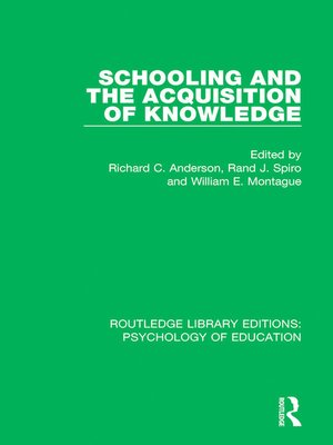 cover image of Schooling and the Acquisition of Knowledge