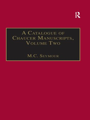 cover image of A Catalogue of Chaucer Manuscripts