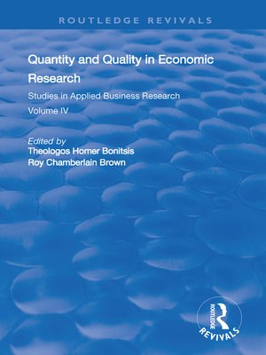 cover image of Quantity and Quality in Economic Research
