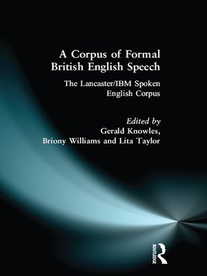 cover image of A Corpus of Formal British English Speech