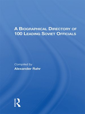 cover image of A Biographical Directory of 100 Leading Soviet Officials