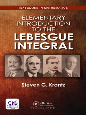 cover image of Elementary Introduction to the Lebesgue Integral