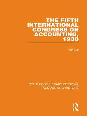 cover image of The Fifth International Congress on Accounting, 1938