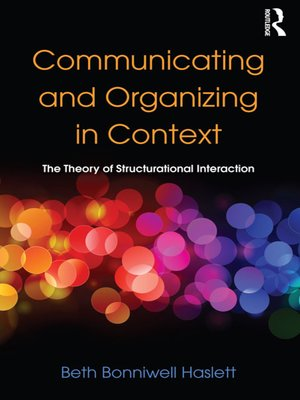 cover image of Communicating and Organizing in Context