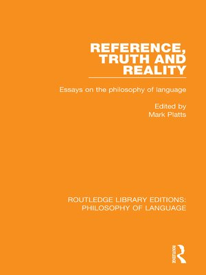 cover image of Reference, Truth and Reality