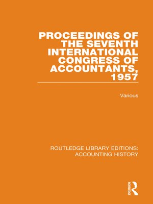 cover image of Proceedings of the Seventh International Congress of Accountants, 1957