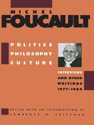 cover image of Politics, Philosophy, Culture