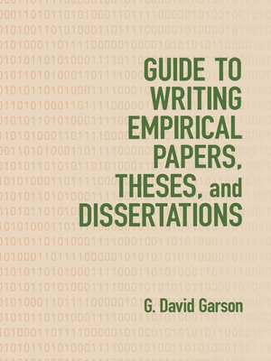 cover image of Guide to Writing Empirical Papers, Theses, and Dissertations